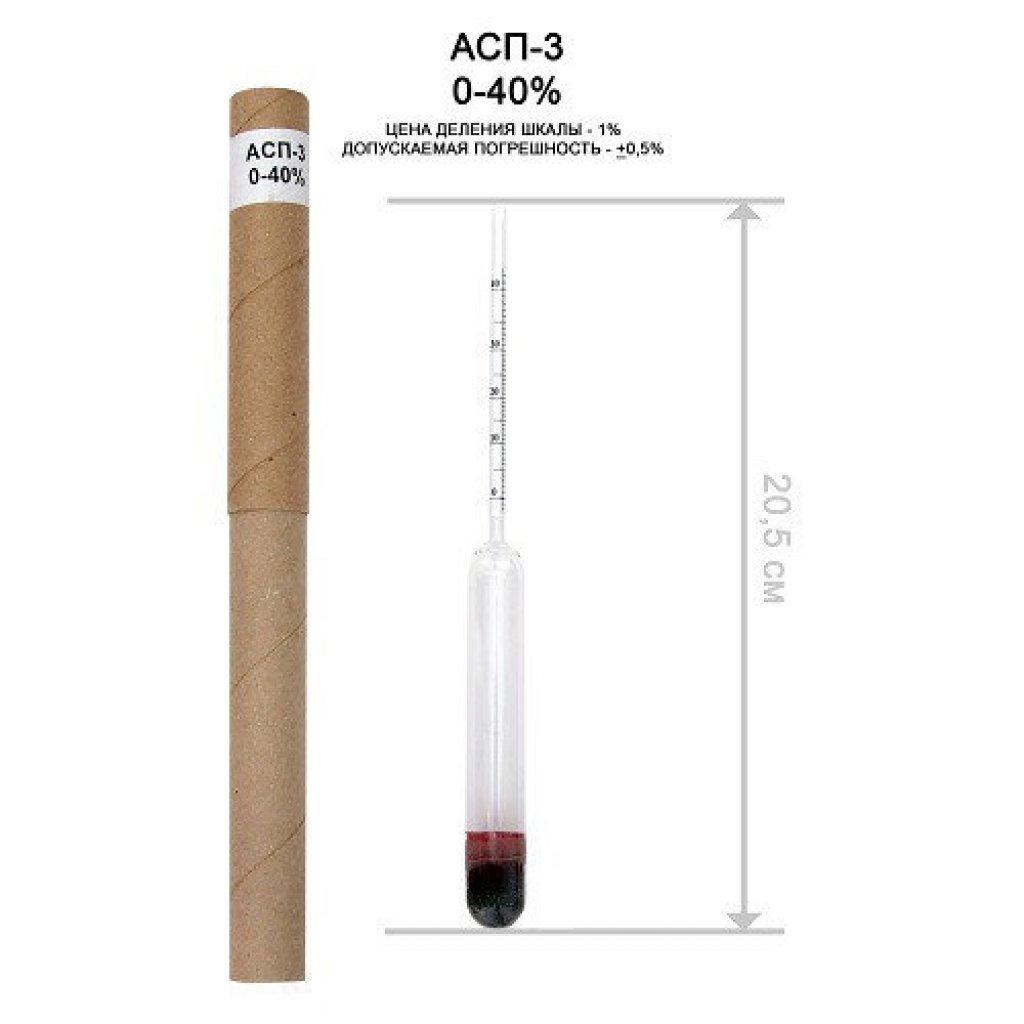 Ареометр АСП-3 0-40 для спирта